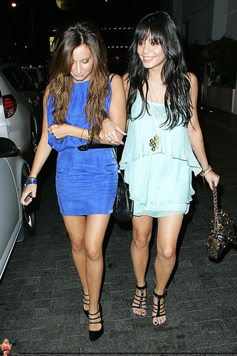 > Ashley and Vanessa leaving the Andaz Hotel in West Hollywood - April 28