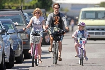 Biking with Stephen and his daughter