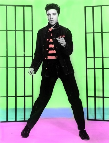 Elvis Presley wallpaper with a holding cell entitled Jail House Rock Colouriesd