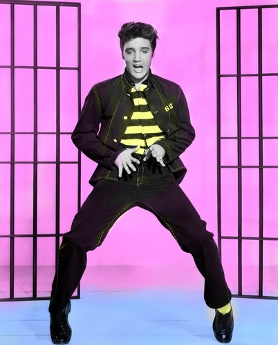 Elvis Presley wallpaper probably with a holding cell entitled Jail House Rock Colourised