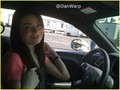 Miranda getting a driving lesson