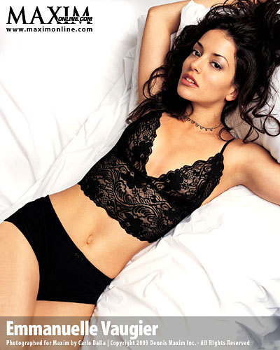 Emmanuelle Vaugier wallpaper possibly with attractiveness, a bustier, and a leotard called Emmanuelle in Maxim