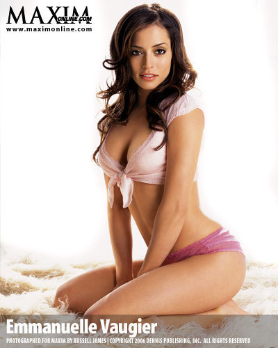 Emmanuelle Vaugier wallpaper probably containing skin and a portrait titled Emmanuelle in Maxim