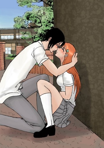 Ishida & Orihime fã Club wallpaper with animê called Behind School