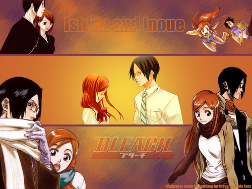Ishida & Orihime fã Club wallpaper probably with a sign and a portrait called Ishida x Orihime wallpaper