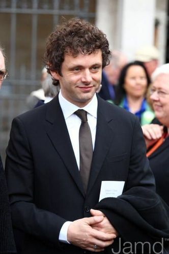 Michael Sheen at the memorial service for Paul Scofield
