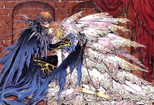 Tsubasa: Reservoir Chronicles karatasi la kupamba ukuta probably with a mitaani, mtaa titled Syaoran and Sakura