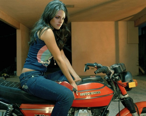 bella with her motorcycle