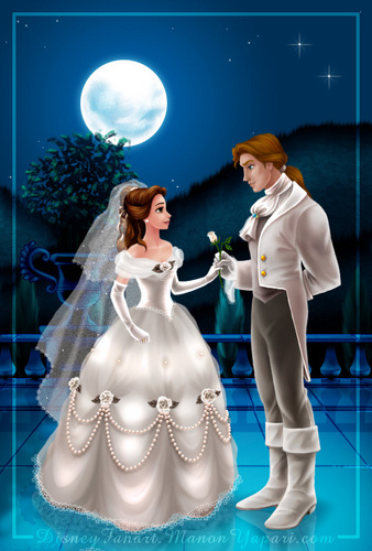 Disney Couples wallpaper probably containing a bridesmaid entitled Belle and the Beast