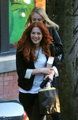 Dakota Fanning with Rachelle Lefevre out at Blue Cafe - May 8 - twilight-series photo