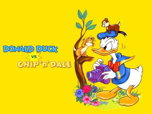 Donald Duck wallpaper with anime entitled Donald Duck vs Chip'n Dale Wallpaper