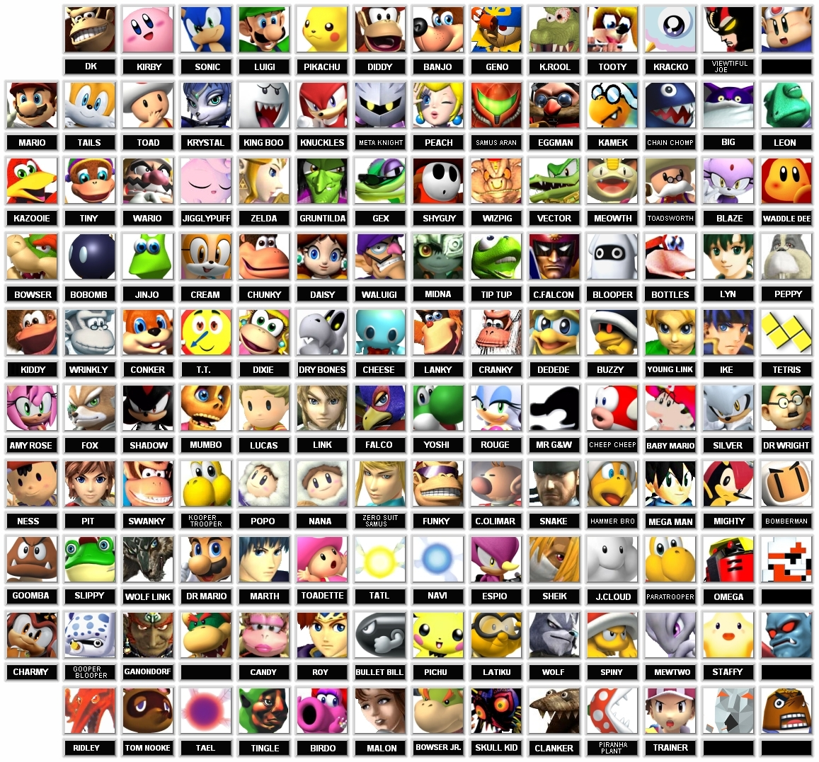 Super Smash Bros. Brawl Fake Super Smash Bros Roster