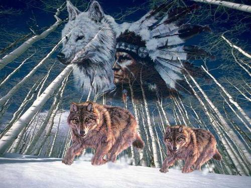 Indian Brave and his Wolves
