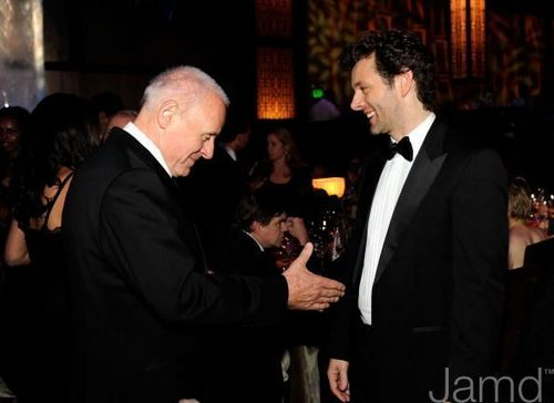 Michael Sheen and Anthony Hopkins at the Academy Awards