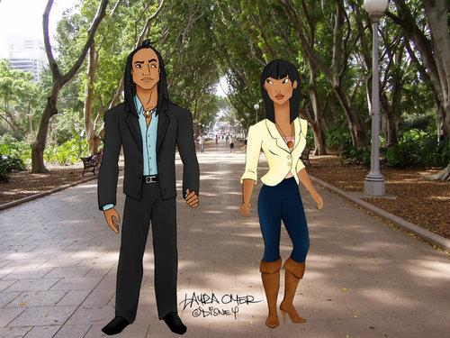 Modernized Pocahontas and Kocoum