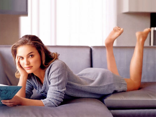 Natalie Portman wallpaper possibly with a couch, a living room, and a family room entitled Natalie Portman InStyle magazine