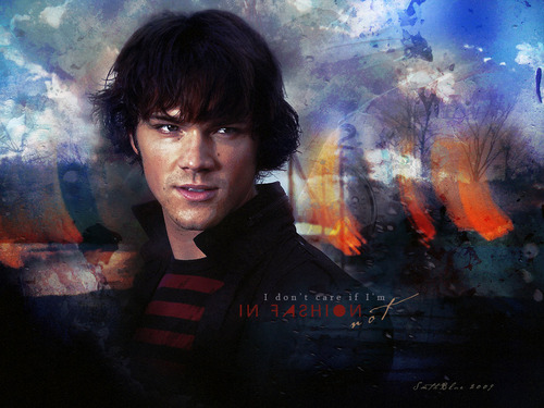 Sam Winchester wallpaper containing a fire entitled Sam Winchester