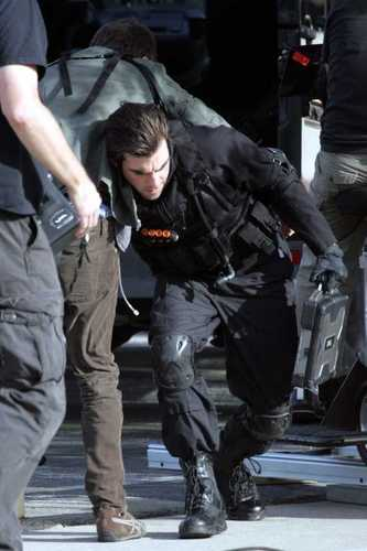 Zach on the set of heroes