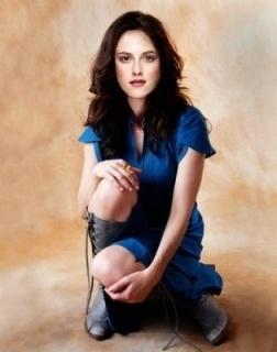 bella in blue dress