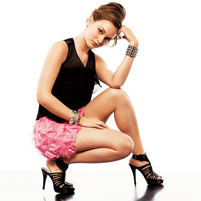 Gossip Girl wallpaper probably with tights, a hip boot, and a bustier called Leighton Meester in InStyle