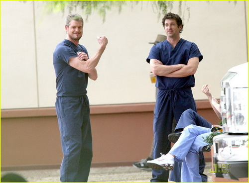 McDreamy and McSteamy on the set of Grey's!