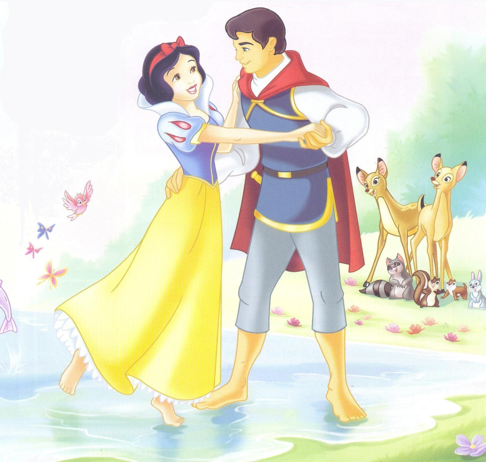 Princess Snow White and Prince Cartoon