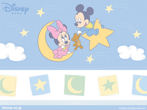Baby Mickey and Minnie kertas dinding