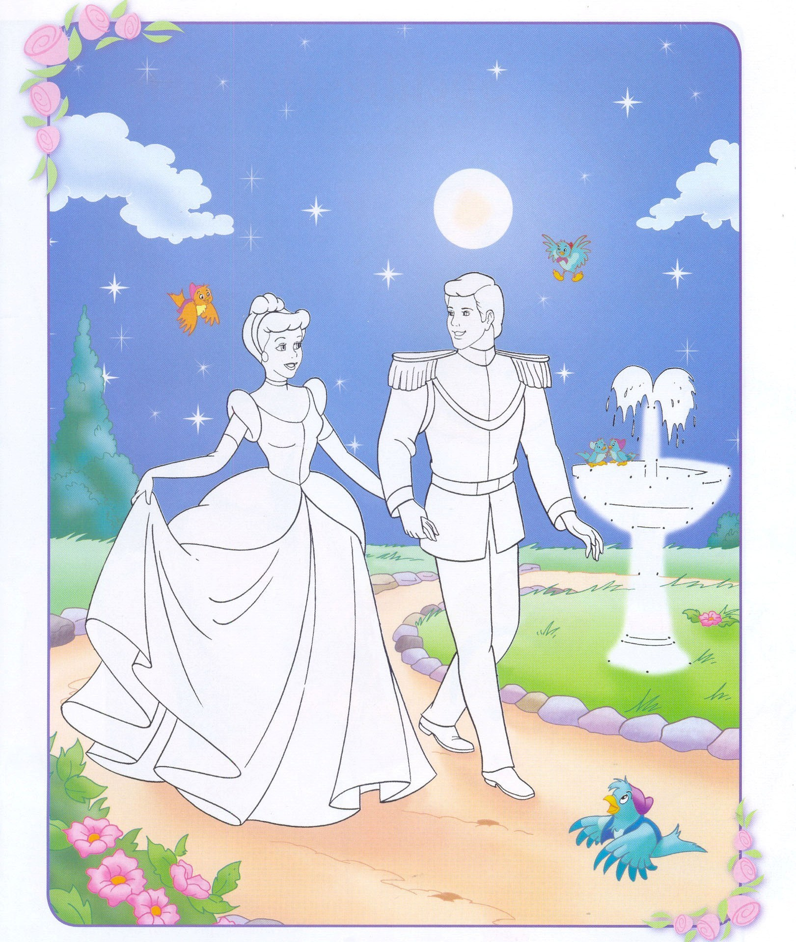 disney couples coloring pages - cinderella and prince charming disney couples fan art