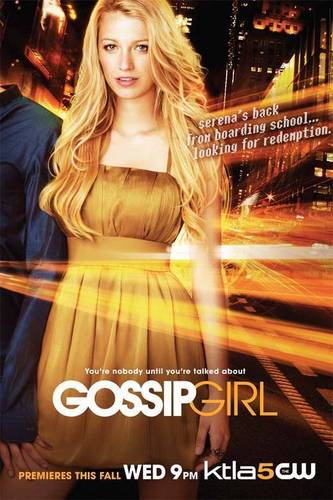 Blake Lively wallpaper possibly with a cocktail dress and a dinner dress entitled Gossip Girl Promo Poster of season 1