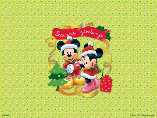 Mickey and Minnie Krismas kertas dinding