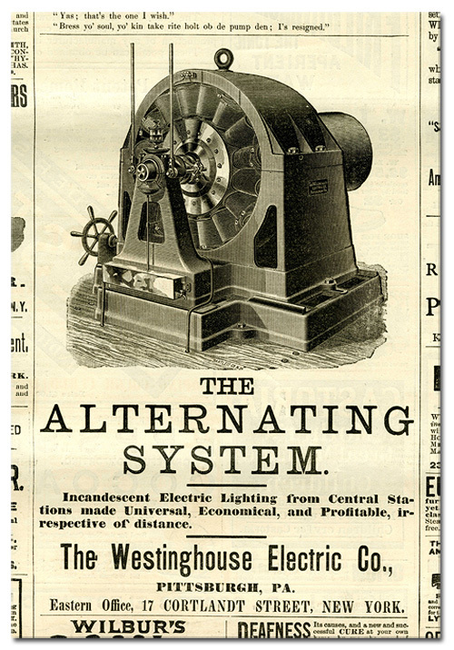 Newspaper Ad for Tesla's Alternating Current