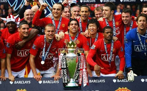 Manchester United 바탕화면 possibly with a 악사, 악대 called Premier League Champions 08/09