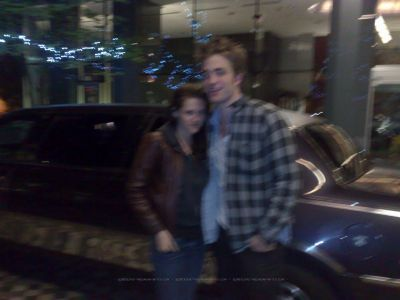 Rob & Kristen outside Rob's Hotel