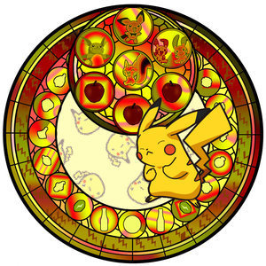 Pikachu stained glass window