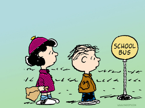 school bus linus and lucy - peanuts Wallpaper