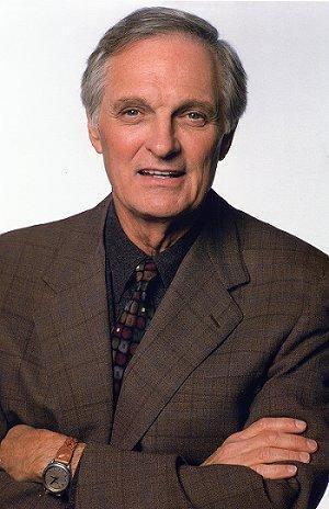 Alan Alda achtergrond containing a business suit and a suit entitled Alan Alda