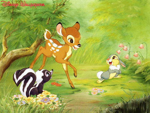 Bambi wallpaper called Bambi, Thumper and Flower Wallpaper