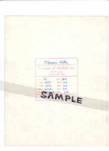 Grace Kelly Modeling Card (back)