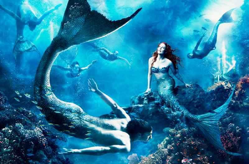Julianne Moore And Michael Phelps As Mermaids Disney
