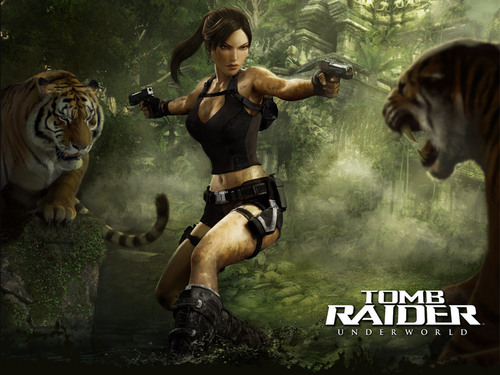 Tomb Raider wallpaper containing a tiger cub titled Lara Croft