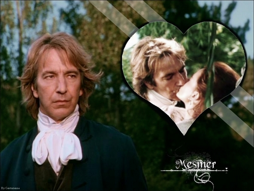 Alan Rickman wolpeyper probably containing a business suit and a portrait entitled Mesmer