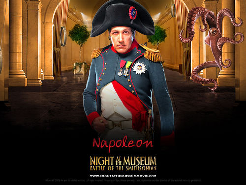 films achtergrond with a fedora and a boater titled Night at the Museum 2: Battle of the Smithsonian