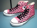 Pink leopard print converse's