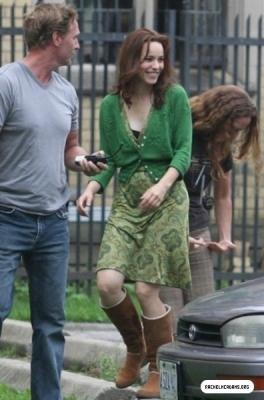 Rachel McAdams on the set