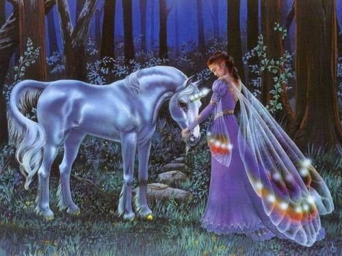 Unicorn and Fairy Wallpaper - unicorns Wallpaper