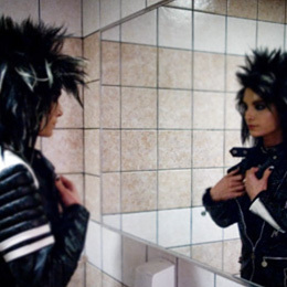 Bill Kaulitz achtergrond possibly containing a washroom, a sign, and a bathroom titled -Bill♥
