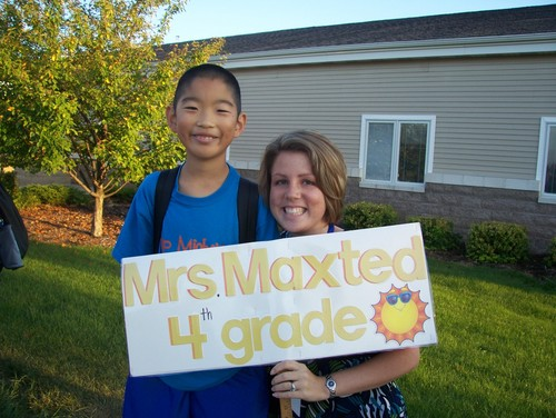 A student with the teacher, Mrs. Maxted