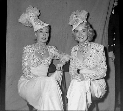 Audrey Totter & June Havoc On Movie Set - candid