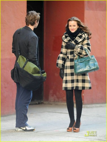 Blair Waldorf kertas dinding probably with a box coat, a street, and an overgarment entitled BW