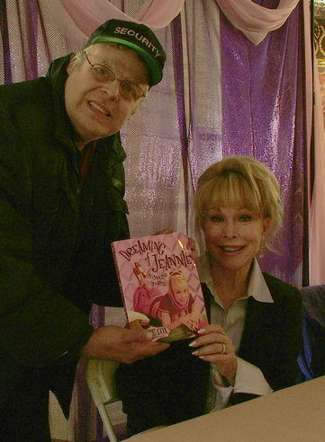 Barbara at book signing fair, 2005